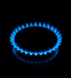 Gas flame. On a black background Royalty Free Stock Image