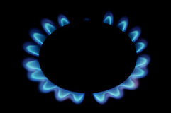 Gas flame. Background of gas flame on black Royalty Free Stock Photo