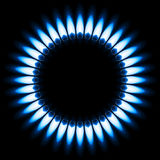 Gas Flame. Blue Gas Flame. Illustration on black background Stock Images