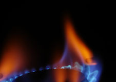Gas flame 3. Gas flame on a stove Royalty Free Stock Images