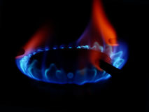 Gas flame 4. Gas flame on a stove Royalty Free Stock Photography