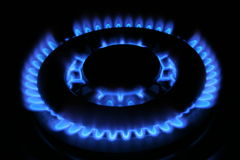 Gas flame. Blue gas in night Stock Image
