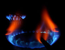 Gas flame. On a stove  close up Royalty Free Stock Photo