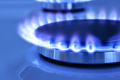 Gas flame. Blue gas flame on the hob close up Royalty Free Stock Images