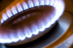 Gas flame. On a kitchen hob Stock Photo