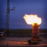 Gas flame. At an oil well in canada Stock Photo
