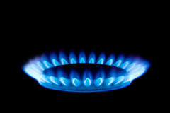 Gas flame. Isolated on black background Royalty Free Stock Photography