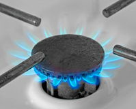 Gas flame. Blue gas flame as part of camping cooker Stock Image