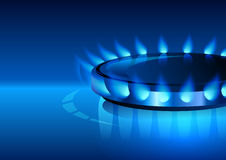 Gas flame with blue reflection. Vector background. Royalty Free Stock Images