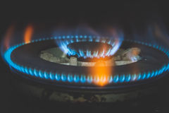 Gas Flame. Closeup of Gas Flame in Kitchen room Royalty Free Stock Image
