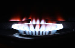 Gas flame on domestic stovetop Royalty Free Stock Photos