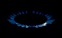 Gas flame on domestic stovetop Royalty Free Stock Photography