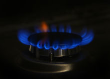Gas flame on domestic stovetop Royalty Free Stock Images