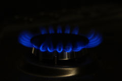Gas flame on domestic stovetop Stock Photography