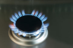 Gas flame of a gas stove. In stainless steel Royalty Free Stock Photo