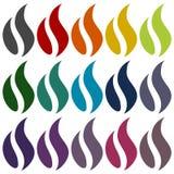 Gas Flame Icons set Stock Image