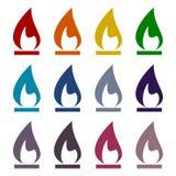 Gas Flame Icons set. Vector icon Royalty Free Stock Photos
