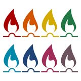 Gas Flame Icons set. Vector icon Royalty Free Stock Images