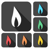 Gas Flame Icons set with long shadow Royalty Free Stock Photo