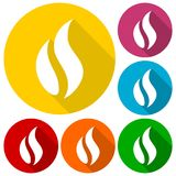 Gas Flame Icons set with long shadow. Vector icon Royalty Free Stock Image