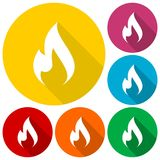 Gas Flame Icons set with long shadow Stock Images