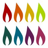 Gas Flame Icons set Stock Photography