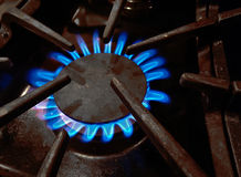 Gas flame from kitchen stove burner Stock Photo