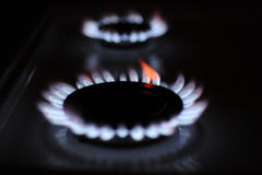 Gas flame. Natural gas flame on the stove Royalty Free Stock Image
