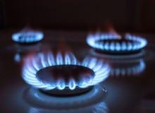 Gas flame, selective focus. Blue gas flame, selective focus Stock Photos