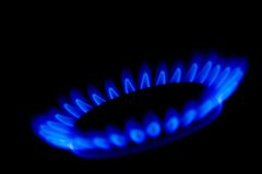 Gas flames. A ring of blue gas flames Royalty Free Stock Photos
