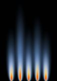 Gas Flames. An abstract background in portrait format, representative gas flames Stock Image