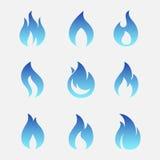 Gas flammar vektorsymboler stock illustrationer