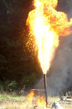 Gas flare. Flare burning off gas and oil at Niagara 1 oil well, West Coast, South Island, New Zealand Royalty Free Stock Image