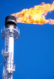 The gas flare on the gas field stock image