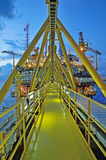 The gas flare is on the oil rig platform Stock Images