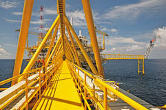 The gas flare is on the oil rig platform Stock Image