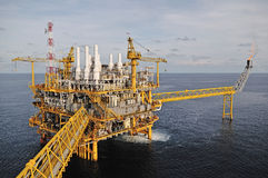 The gas flare is on the oil rig platform Royalty Free Stock Photos