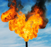 Gas flaring. Burning of associated gas at oil production Stock Images