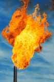 Gas flaring. Burning of associated gas at oil production Royalty Free Stock Photo