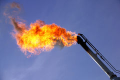 GAS FLARING AMERICAN OIL INDUSTRY PRODUCTION. Burning Off Gas by Flaring. American oil gas industry. Oilfield, Energy Royalty Free Stock Photo