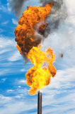 Gas flaring. Combustion of associated gas at oil production Royalty Free Stock Photo