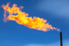 Gas flaring. Combustion of associated gas at oil production Royalty Free Stock Photography