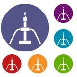 Gas flaring icons set Royalty Free Stock Image