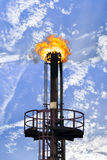 GAS FLARING. Flaring natural Gas at a Oil Refinery Stock Images