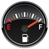 Gas Fuel Automotive Dashboard Gauge Vector Illustration. Car gasoline fuel dashboard gauge indicator, cool glass reflection adds a nice touch, sharp design royalty free illustration