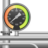 Gas, fuel pipe valve and pressure meter Stock Photos