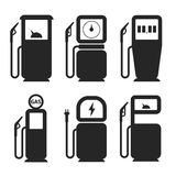 Gas and fuel pump vector icons set Stock Image