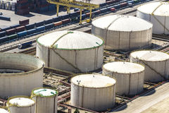 Gas and fuel tanks, Barcelona Royalty Free Stock Images