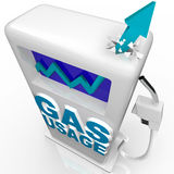 Gas and Fuel Usage - Arrow Rising on Gasoline Pump. A blue arrow crashes through top of gasoline pump over the words Gas Usage, symbolizing the growing worldwide Royalty Free Stock Photos