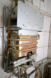 Gas furnace. Detail of a gas furnace in a renovated bathroom Royalty Free Stock Images